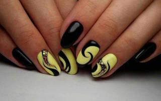 Черно желтый маникюр, фото