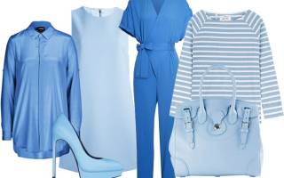 Голубой цвет. Сочетание с другими цветами в одежде для женщин, что означает, с чем носить, кому идет. Фото