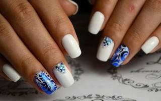 Дизайн ногтей синий с белым. Фото со стразами, серебром, песком, френч гель-лаком