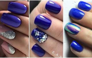 Синий маникюр на короткие ногти. Фото дизайн 2019 гель-лак