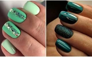 Темно-зеленые ногти. Дизайн, фото, новинки, модные тенденции 2019 на острые, длинные, короткие ноготки