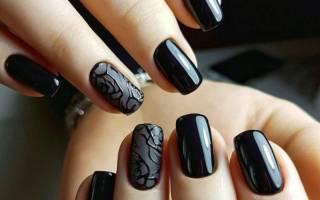 Маникюр с черным лаком на короткие ногти. Фото, дизайны с рисунком пошагово в домашних условиях