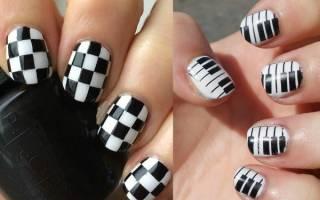 Дизайн ногтей черный с белым. Фото новинки со стразами, серебром, френчем, золотом, полосками, рисунком, мрамором