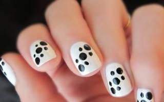 Черно-белый маникюр гель-лаком. Фото дизайн на короткие ногти для начинающих в домашних условиях