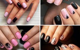 Дизайн ногтей розовый с черным. Фото, новинки с блестками, стразами, полосками, серебряным кружевом, рисунком