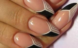 Френч на ногтях миндалевидной формы гель лаком. Дизайн со стразами, блестками, лунками, втиркой, нежным рисунком. Красивые новинки и фото