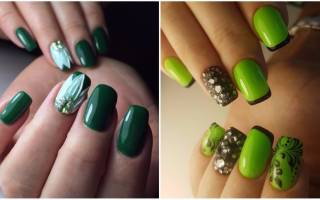 Дизайн ногтей зеленых цветов в тонах оливкового, салатового, изумрудного и бутылочного оттенков