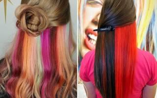 Скрытое окрашивание на темные волосы. Фото радуга, без осветления, светлый, каре, на средние волосы, красный